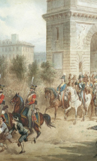 The entry of Russian troops in Paris in 1814. Panorama Museum of the Battle of Borodino, Moscow
