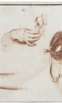 Studies of three hands, two of them holding masks