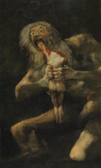 A series of gloomy paintings. Saturn devouring his children