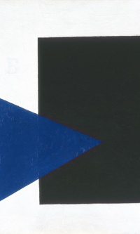 Suprematist composition (with blue triangle and black rectangle)
