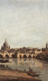 Вид Дрездена с правого берега Эльбы ниже от моста Аугустусбрюкке
