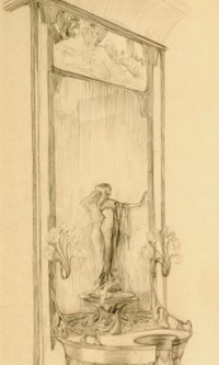 The interior of the jewelry store of Georges Fouquet. A sketch showcase with mirror and figurine