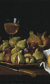 Still-life: bread, pomegranates, figs