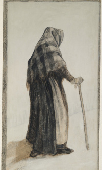 An old woman with a shawl and a cane