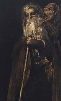 A series of gloomy paintings. Old men
