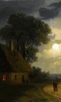 Дом на ферме и мельница в лунном свете