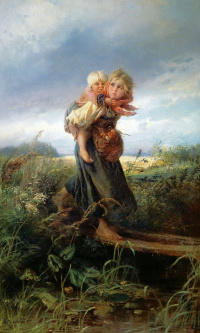 Children running from the storm