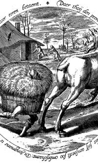 Сено бежит за лошадью. Тондо