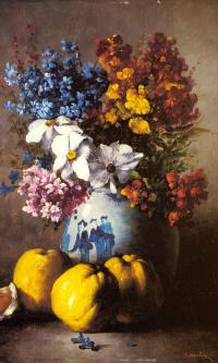 Натюрморт с вазой цветов и фруктами