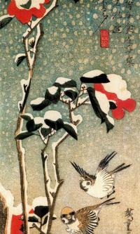 """Воробьи и заснеженная камелия. Серия """"Птицы и цветы"""""""