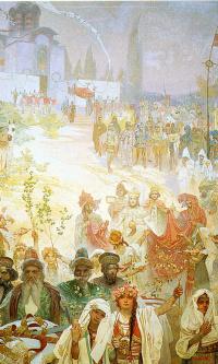 The coronation of the Serbian Tsar Stefan Uros IV Dusan as Emperor of the Eastern Roman Empire