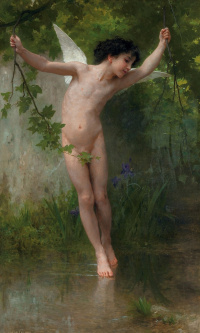 Cupid hanging above the water