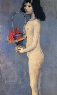 Молодая обнаженная девушка с цветочной корзиной