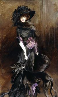 Портрет маркизы Луизы Казати с грейхаундом