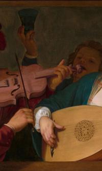Весёлая группа за балюстрадой со скрипачом и лютнисткой