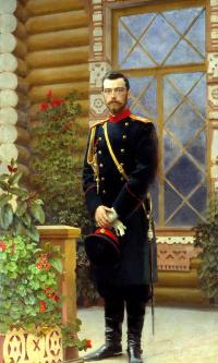 Portrait of Emperor Nicholas II on the porch