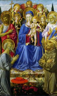 Дева с младенцем на троне среди ангелов и святых