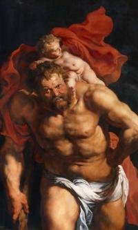 Снятие с креста (фрагмент, обратная сторона левой створки - Св.Христофор несёт Младенца Христа)