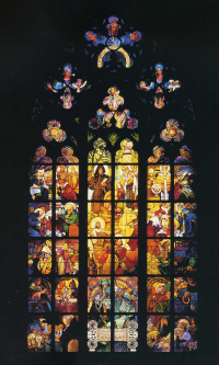 Stained glass window in St. Vitus Cathedral