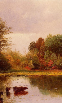 Landscape with pond and cows