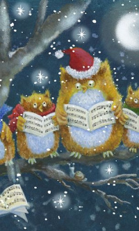 Owl, singing Christmas carols