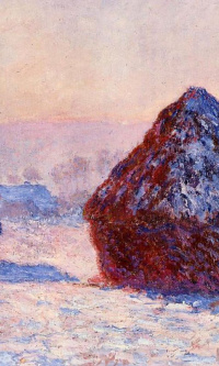Haystacks in the morning. The effect of snow