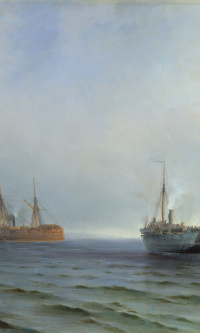 "The capture of the steamer ""Russia"" Turkish military vehicles ""Messina"" on the Black sea, 13 December 1877"