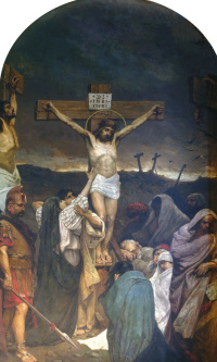 The crucifixion. Fragment of painting of the Vladimir Cathedral in Kiev