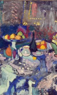 Vase, bottle and fruit