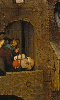 Flemish proverbs. Fragment: Kissing the doorknob is being insincere. Wipe your ass on the door - to treat someone scornfully