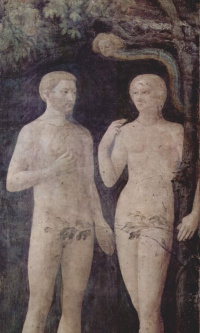 The temptation of Adam and eve. Brancacci chapel in Santa Maria del Carmine in Florence