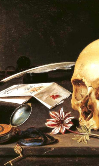 Vanitas. Still life with skull and candle