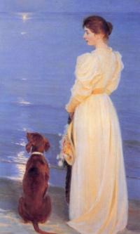 Летний вечер в Скагене. Жена художника и собака на берегу