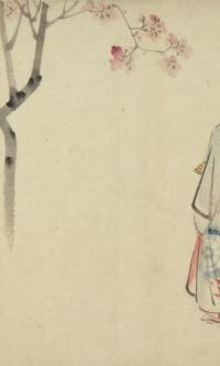 Девушка в тумане под цветущим вишневым деревом (эскиз для гравюры)