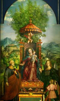 Мадонна с Иисусом на троне в окружении Святого Иосифа, Архангела Рафаила и Товии