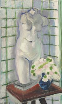 Натюрморт с гипсовым торсом и букетом цветов