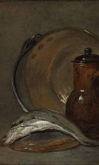 Натюрморт с медным горшком, кувшином, рыбой и стаканом