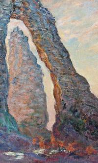 The rock Needle, the view through the Porte d amont, Etretat