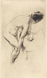 Woman holding leg. 1886