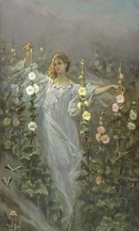 Girl among the hollyhocks (flower Fairy; Rosa)