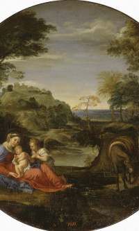 The rest of the Holy Family on the flight into Egypt