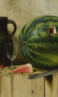 Натюрморт с арбузом, кувшином и ножом