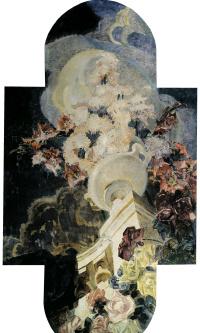 """Хризантемы. Триптих """"Цветы"""" для особняка Е.Д. Дункер в Москве. Цетральная часть триптиха"""