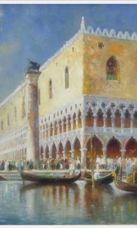 Изображение гондол и парусных лодок на канале перед Дворцом Дожей