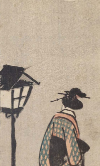 The girl at the lantern on a moonlit night