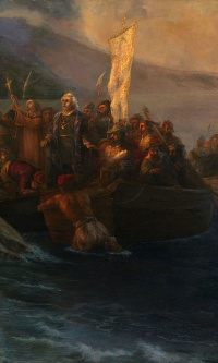 The landing of Christopher Columbus with companions on three boats on Friday 12 October 1492 at sunrise on the American island named San Salvador by him in that same day
