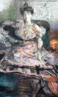 После концерта. Портрет Надежды Ивановны Забелы-Врубель у камина, в платье, исполненном по замыслу художника