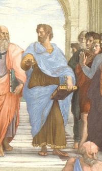 """The stanza della senyatura. The fresco """"the school of Athens"""". Snippet: Aristotle"""