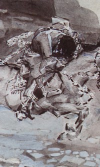 """Galloping rider (""""the horse Trots faster DOE...""""). Illustration to the poem by Mikhail Lermontov """"Demon"""""""