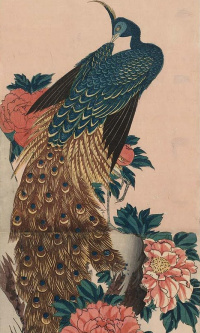 "Peacock and peonies. Series ""Birds and flowers"""